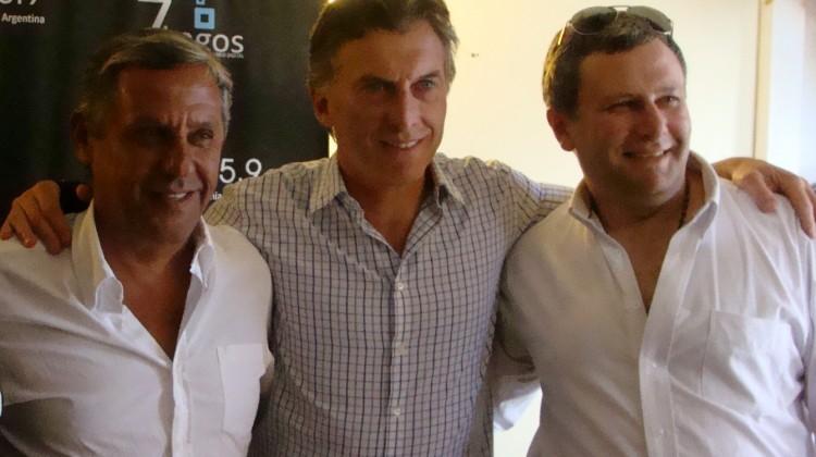 Gustavo Zwantk, junto a Mauricio Macri y Horacio Quiroga.