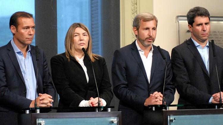 Gobernador Omar Gutierrez junto a Rosana Bertone, Rogelio Frigerio en Casa Rosada 10-03-016