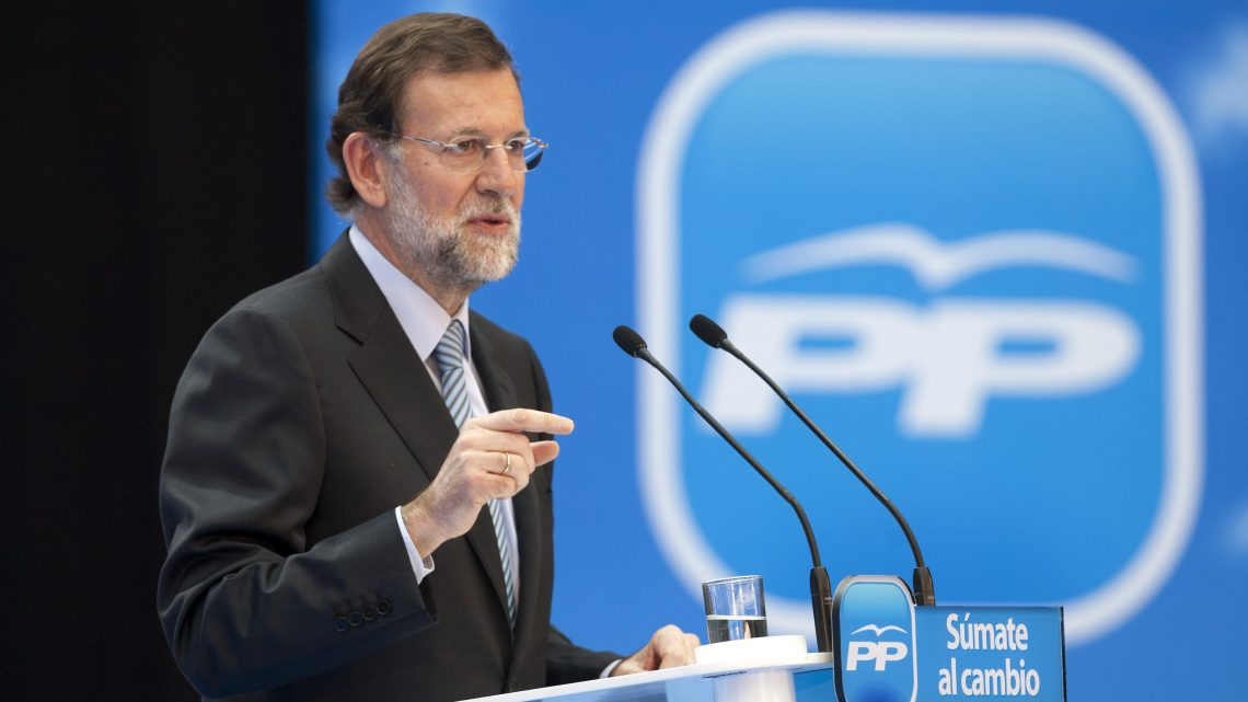 Spain's Popular Party chairman and presidential candidate Mariano Rajoy delivers a speech during an electoral event in Vitoria, northern Spain, on 11 November 2011. Spain will vote in nationals elections on 20 November 2011. EPA/DAVID AGUILAR