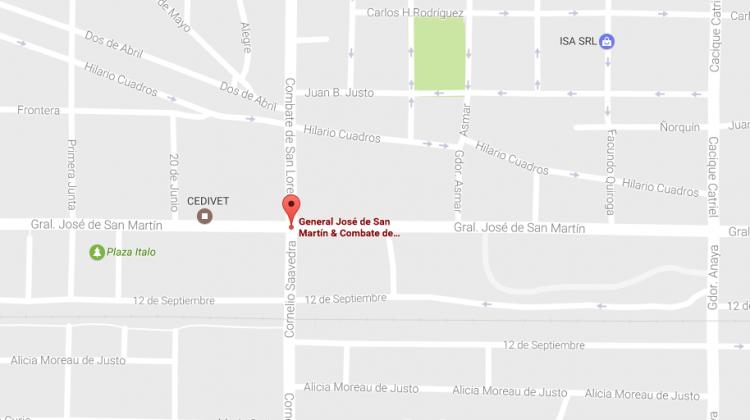 mapa corte de calle