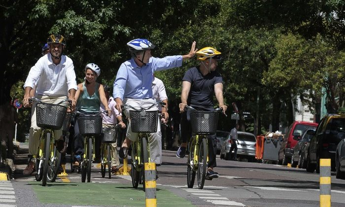 Buenos Aires, 23 de Enero de 2013. El jefe de Gobierno porteño, Mauricio Macri, anunció hoy que la Ciudad ya cuenta con 100 km de vías exclusivas para el tránsito de bicicletas. Foto: Mariana Sapriza/GCBA