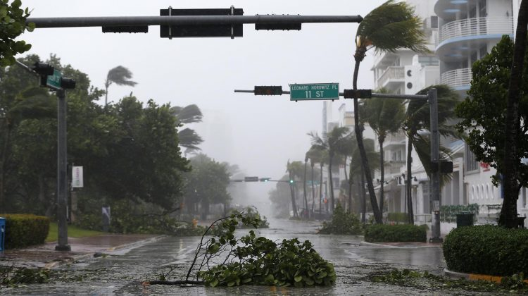 Debris is strewn across a normally busy street in South Beach as Hurricane Irma passes by, Sunday, Sept. 10, 2017, in Miami Beach, Fla. (AP Photo/Wilfredo Lee)